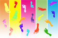 Colorful children's footprints Stock Photos