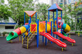 Colorful children s playground at public park in bangkok Stock Photos