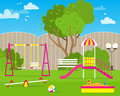 Colorful Children's playground with Swings, slide, sandbox Royalty Free Stock Photo