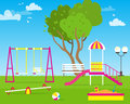 Colorful Children& x27;s playground with Swings Royalty Free Stock Photo
