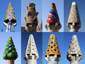 Colorful chimneys on Palau Guell, Barcelona Royalty Free Stock Photo