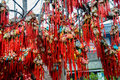 Colorful chinese brocaded sachets were hung on branches as a sort of traditional custom by people praying for blessing at chengdu Royalty Free Stock Photos