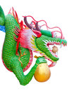 Colorful chinese dragon hold gold bag isolated on white background clipping path Stock Photography