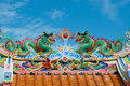 Colorful chinese dragons on temple roof Royalty Free Stock Photo