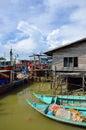 Colorful chinese fishing boat resting at a Chinese Fishing Village- Sekinchan, Malaysia Royalty Free Stock Photo