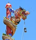 Colorful chinese stlye dragon statue in shrine Royalty Free Stock Photos