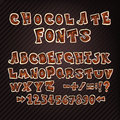 Colorful chocolate doodle abc letters hand drawn alphabet nice font for your design vector a z and numbers Stock Photography