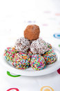 Colorful chocolate truffles photo of Royalty Free Stock Photography