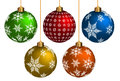 Colorful chrismas ball on white background vector format Royalty Free Stock Photos