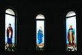 Colorful christian church saints stained glass windows Royalty Free Stock Photo