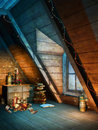 Colorful christmas attic with decorations and candles Royalty Free Stock Images