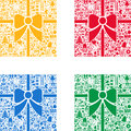Colorful christmas backgrounds set of ribbon background with signs and symbols in background Royalty Free Stock Images