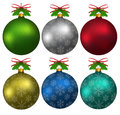 Colorful christmas balls with snowflakes hanging elements of fir tree and ribbons Royalty Free Stock Photography