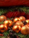 Colorful Christmas balls with spruce needles Royalty Free Stock Photo