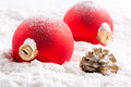 Colorful christmas baubles Stock Photography