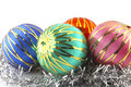 Colorful christmas baubles conceptual image with typical decor Royalty Free Stock Images
