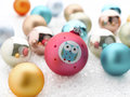 Colorful christmas baubles shallow focus Royalty Free Stock Photos