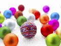Colorful christmas baubles shallow focus Stock Image