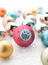Colorful christmas baubles shallow focus Stock Photo