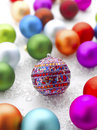 Colorful christmas baubles shallow focus Royalty Free Stock Photo