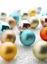 Colorful christmas baubles shallow focus Royalty Free Stock Images