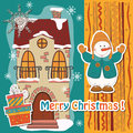 Colorful christmas card vector illustration of retro house snowman snowflake and text Stock Photo
