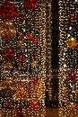 Colorful christmas Decoration. Winter holidays and traditional ornaments. Lighting chains-bulbs for seasonal background. Royalty Free Stock Photo