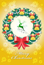 Colorful christmas greeting card in the badges design with decorative elements Stock Images