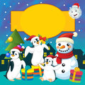 The colorful christmas greeting card illustration for the children happy and good cover or Stock Images