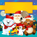 The colorful christmas greeting card illustration for the children happy and good cover or Royalty Free Stock Photo