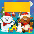 The colorful christmas greeting card illustration for the children happy and good cover or Stock Photos