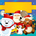 The colorful christmas greeting card illustration for the children happy and good cover or Royalty Free Stock Images