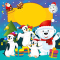 The colorful christmas greeting card illustration for the children happy and good cover or Stock Photo