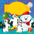 The colorful christmas greeting card illustration for the children happy and good cover or Royalty Free Stock Image