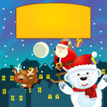 The colorful christmas greeting card illustration for the children happy and good cover or Stock Photography