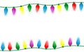 Colorful christmas lights border isolated on black background