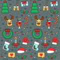 Colorful Christmas and New Year seamless pattern with traditional attributes in line style. Vector Royalty Free Stock Photo
