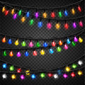 Colorful christmas transparent light bulbs