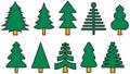 Colorful Christmas tree icons