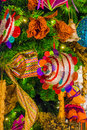 Colorful christmas tree ornaments and decorations in night festival Royalty Free Stock Photo