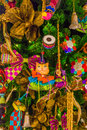 Colorful christmas tree ornaments and decorations in night festival Stock Image