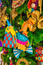 Colorful christmas tree ornaments and decorations in night festival Stock Photos