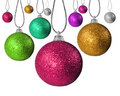 Colorful chritsmas baubles on strings Stock Photos
