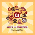 Colorful cinema icons movie set vector illustration Stock Images