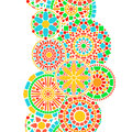 Colorful circle floral mandala border in green and orange on white seamless pattern, vector