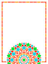 Colorful circle floral mandala frame background in green and orange on white, vector Royalty Free Stock Photo