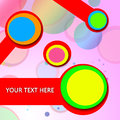 Colorful circles abstract background with circle and red ribbons on a bright surface Royalty Free Stock Photos