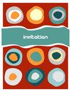 Colorful circles pattern on red Stock Images