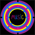 Colorful circles and word music card vector illustration Royalty Free Stock Photography