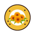 Colorful circular border with sunflowers and decorative stars